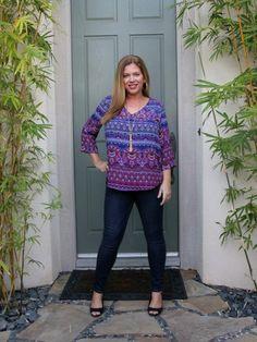 Stitch Fix January 2017 Review - Renee C Goldhaber V-Neck Blouse and Level 99 Shauna Skinny Jean #stitchfix #fashion #style