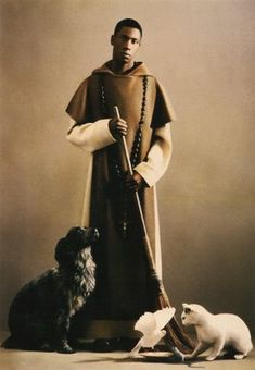 St. Martin de Porres loved animals. Born at Lima, Peru, in 1579, his father was a Spanish nobleman and his mother a black former slave  from Panama. At fifteen, he became a lay Dominican brother, working as a barber, farmworker, almoner, and infirmarian among other things. Martin's love was all-embracing, shown equally to humans and to animals. He was noted for work on behalf of the poor, establishing an orphanage and a children's hospital.