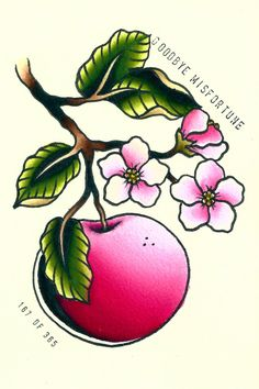 Apple blossoms painting, 4x6 tattoo flash. $15.00, via Etsy.