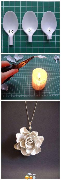 Como hacer flores a partir de cucharas de plástico