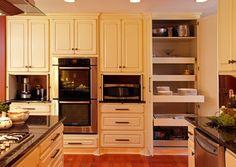Appliance garage with pocket door hinges for 14x7 garage door