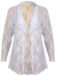 New Womens Plus Size Floral Pattern Lace Cardigan Long Sleeve Womens Waterfall Open Top White Size 24 26 Cardigan Outfits, White Cardigan, Cheap Cardigans, Cardigans For Women, Cute Woman, Plus Size, Size 12, Knitwear, Tunic Tops
