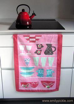 Pink Shelves Design Tea Towel