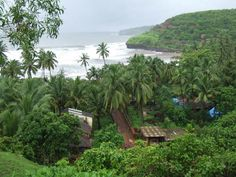 A View of Velneshwar village in Ratnagiri District in Maharashtra from the MTDC holiday home on the hill near the beach.
