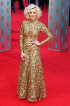 Fearne Cotton - 2014 British Academy of Film & Television Arts - BAFTAS - wearing vintage gold bronze Scaasi gown - red carpet arrivals