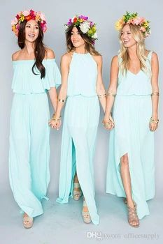 Hot Sale Baby Blue 3 Style Long Chiffon Bridesmaid Dresses 2016 V-Neck Wedding Party Dresses Sexy Backless vestido longo