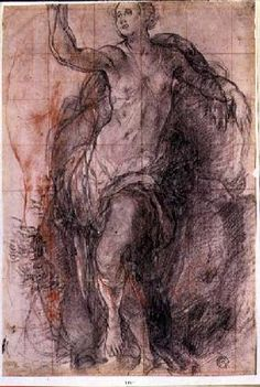 Pontormo - Study of a female figure with loose drapery