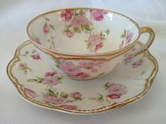 Antique HAVILAND LIMOGES FRANCE Cup Saucer Set Double Gold Pink Roses ~ GORGEOUS