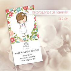 Recordatorio de Comunión Flores por Kissthefrogeventos en Etsy