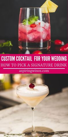 How to Pick a Custom Cocktail or Signature Drink for Your Wedding Wedding Drinks Wedding Toast Recipes Custom Cocktails for Your Wedding Pick a Signature Drink for Your Wedding via aspiringwinos Famous Cocktails, Wine Cocktails, Easy Cocktails, Classic Cocktails, Drinks Wedding, Party Drinks, Wedding Gifts, Cocktail Parties, Sangria Recipes