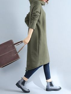 Casual Women Loose Solid Color High Collar Dresses