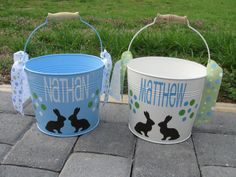 "Easter buckets: Use solid color spray paint for base color on metal bucket with handle. Then use stencil for the details. Easiest way to do this part is spray the paint into a disposable dish and use a paint brush. Paint over it every year for a ""new"" Easter basket. --> #DIY #SprayPaint #Crafty #Easter"