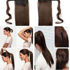 Wrap Around Straight Ponytail Hair. Wrap Around Curly Ponytail Hair. Insert the comb of the ponytail through the hair elastic. Tightly wrap the strip of hair around top of the ponytail, then pin the hair ends neatly into place. Ponytail Wrap, Clip In Ponytail, Ponytail Hair Extensions, Ponytail Extension, Synthetic Hair Extensions, Curly Hair Pieces, Bun Hair Piece, Curly Hair Styles, Black And Blonde