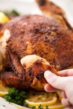 """Making this homemade """"rotisserie"""" chicken is as easy as 5 minutes of prep and a handful of spices. Then sit back and let your slow cooker do all the work! Popeyes Spicy Chicken Recipe, Roast Chicken Crock Pot, Rotisserie Chicken Seasoning, Rotisserie Turkey, Roast Chicken Recipes, How To Cook Chicken, Crock Pot Cooking, Cooking Recipes, Crockpot Recipes"""