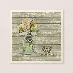 vintage western flowers mason jar barn wedding paper napkin