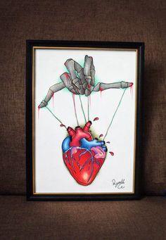 Human Heart Tattoo Design by RJYArt on Etsy