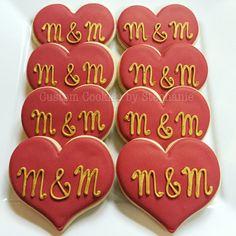 Wedding cookie favors, M&M, merlot and gold cookies, monogram cookies