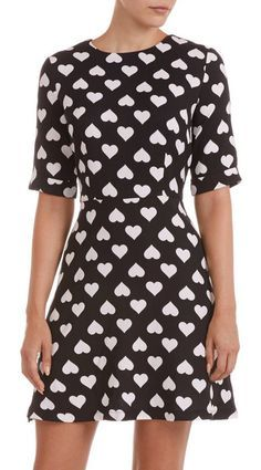 black + white fit and flare heart print dress