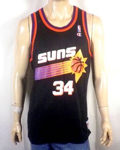 vtg 90s Champion Phoenix Suns Charles Barkley Basketball Jersey screened 48 XL #Champion #PhoenixSuns