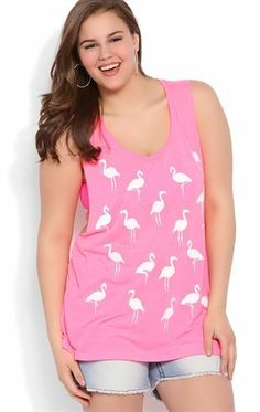 Deb Shops Plus Size #Flamingo Print Tank Top with Double Twist Back $10.00