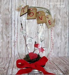 Valentine Craft Ideas - Valentine's In A Jar - Mason Jar Craft Ideas @Mason Jar Crafts Love