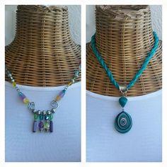 Handmade jewelry. Long Necklace. Semi precious stones with silk. Design.