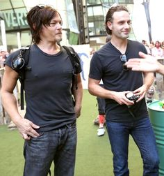 Norman Reedus & Andrew Lincoln omg they are matching! Bless their hearts ♥