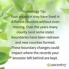 Did your ancestor move or did the county boundary move?  #ancestry #genealogy #familyhistory #familytree #genealogytip #history #ushistory #county #countyhistory #heritage #roots