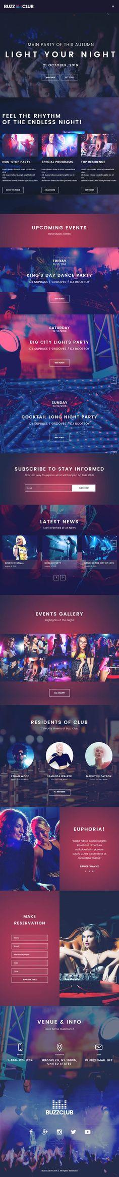 Buzz Club Night Club, DJ & Music Festival Event WordPress Theme by cmsmasters Event Landing Page, Top Wordpress Themes, Blog Design Inspiration, Dj Music, Wordpress Template, Custom Cookies, Night Club, Web Design, Website Designs