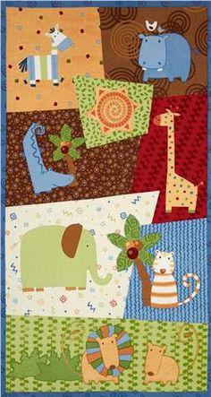 Baby jungle boogie wall hanging quilt top panel fabric for Safari fabric for nursery