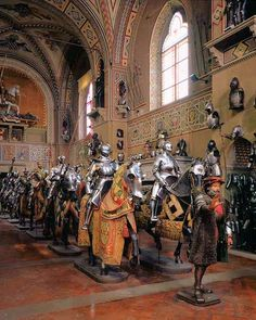 Stibbert Museum: Florence, Italy. Cavalcade Room brings to life the European armoury with mounted gleaming knights.