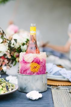 Floral ice bucket // gorgeous presentation for a dinner party