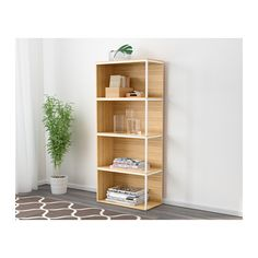IKEA PS 2014 Storage combination with top, bamboo, white bamboo/white 23 5/8x55 1/8