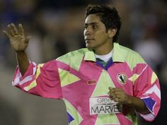 Jorge Campos' goalie kits (1988-2004)Strikers intentionally aimed at Campos more than any other goalie in history. Campos designed them himself, but he had absolutely no regard for basic fashion laws.