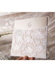 convite de casamento elegante floral corte (conjunto de 50) - R$ 186,77