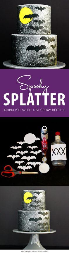 Spooky Splatter Halloween Cake - how to airbrush with a $1 spray bottle     Erin Gardner for TheCakeBlog.com
