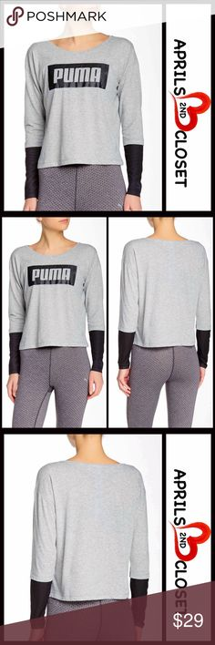 """PUMA Long Sleeve Pullover Tee NEW WITH TAGS RETAIL PRICE: $38  Long Sleeve Pullover Tee  * Scoop neck  * Long sleeves w/contrast mesh partial sleeves  * Lightweight & super soft fabric  * Front printed logo  * Approx 22"""" long  * A relaxed fit   Material: 65% polyester, 35% cotton Color: Grey Item#:  T-shirt  No Trades ✅ Offers Considered*✅ *Please use the blue 'offer' button to submit an offer Puma Tops Tees - Long Sleeve"""