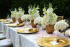 """""""You are the Pineapple of My Eye"""" Baby Gender Reveal pink table gold pineapple centerpiece white flowers Pineapple Centerpiece, Flower Centerpieces, Al Fresco Dinner, Pink Table, Gold Pineapple, 30th Birthday Parties, Project Nursery, Reveal Parties, Gender Reveal"""