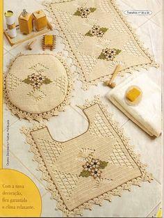 طقم حمام كامل كروشيه بالباترون - crochet pathroom set with patterns ~ شغل ابره NEEDLE CRAFTS