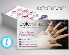 """Check out our """"color street"""" selection for the very best in unique or custom, handmade pieces from our shops. Color Street Nails, Business Cards, Templates, Unique Jewelry, Handmade Gifts, Colorful, Etsy, Lipsense Business Cards, Kid Craft Gifts"""