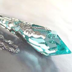 AQUAMARINE ICICLE Necklace, Swarovski Antique Teal Blue Gren Crystal, Sterling Silver