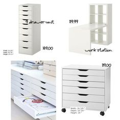 Cheap Craft Room Furniture Ideas From IKEA Before your next trip to Ikea for furniture for your craft or scrap room, take a look at this round up of 40 cheap storage solutions. We all know that Ikea is the store of choice for getting organi… Craft Room Storage, Ikea Craft Room, Craft Organization, Paper Storage, Ribbon Storage, Storage Hooks, Organizing Ideas, Ikea Storage Drawers, Craft Storage Furniture