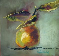 99 pears later  pastel 20x20 cm Marie-France Oosterhof
