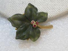 Vintage Joan Rivers Leaf Brooch, Red Rhinestone Accents. 1.5