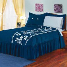 Blue Bedroom, Bedroom Colors, Home Decor Bedroom, Bed Sheet Painting Design, Designer Bed Sheets, Embroidered Bedding, Comfy Bed, Bed Sheet Sets, Awesome Bedrooms