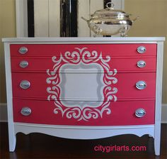 Upcycle an old #dresser with a graphic image like this #quatrefoil #painted dresser for the #nursery.