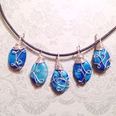 Unique blue stone pendants  made to order by Brynstones on Etsy - sooooo cute!!! <3