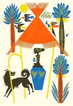 Elisabeth Ivanosky   illustration ✭ from vintage children's book histoire de Bass, Bassina, Boulou, 1936