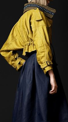 I have a yellow, leather coat from the 80's which needs a makeover...let us consider the length and collar of this one.