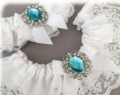 Wedding Garter Set azul azul encaje juego de liga por GarterQueen